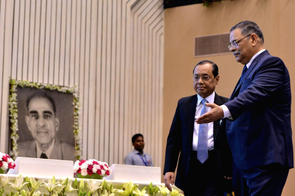 Chief Justice of India Ranjan Gogoi and CBI Director RK Shukla during the 18th DP Kohli Memorial lecture on 'The Role of police in Strengthening Justice Delivery' at Vigyan Bhawan in New ...