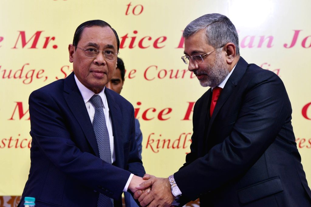 Chief Justice of India Ranjan Gogoi and Justice Kurien Joseph during the latter's farewell ceremony in New Delhi, on Nov 29, 2018.