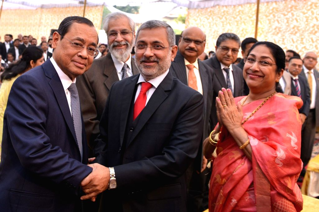 Chief Justice of India Ranjan Gogoi and Justice Kurien Joseph during the latter's farewell ceremony in New Delhi, on Nov 29, 2018. Also seen Justice Madan B Lokur.