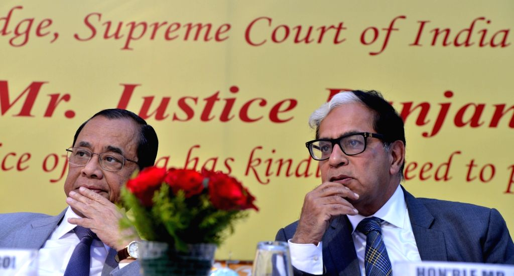 Chief Justice of India Ranjan Gogoi with with Justice A.K. Sikri at his farewell ceremony in New Delhi on March 6, 2019.