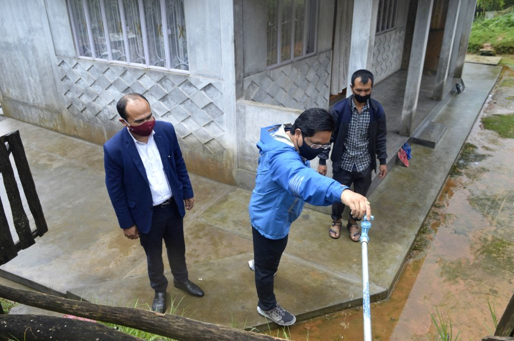 Chief Minister Conrad K. Sangma today visited Sohiong in East Khasi Hills District, to inspect the ongoing works of the PHE department under the Jal Jeevan Mission (JJM), in  Shillong on August 29, ... - Conrad K. Sangma