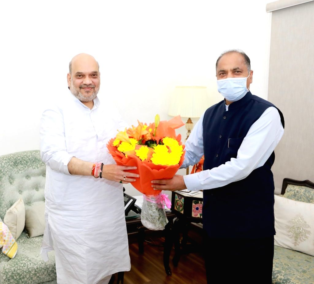 Chief Minister Jai Ram Thakur called  on Union Home Minister  Amit Shah at New Delhi on 6th June, 2021. - Jai Ram Thakur and Amit Shah