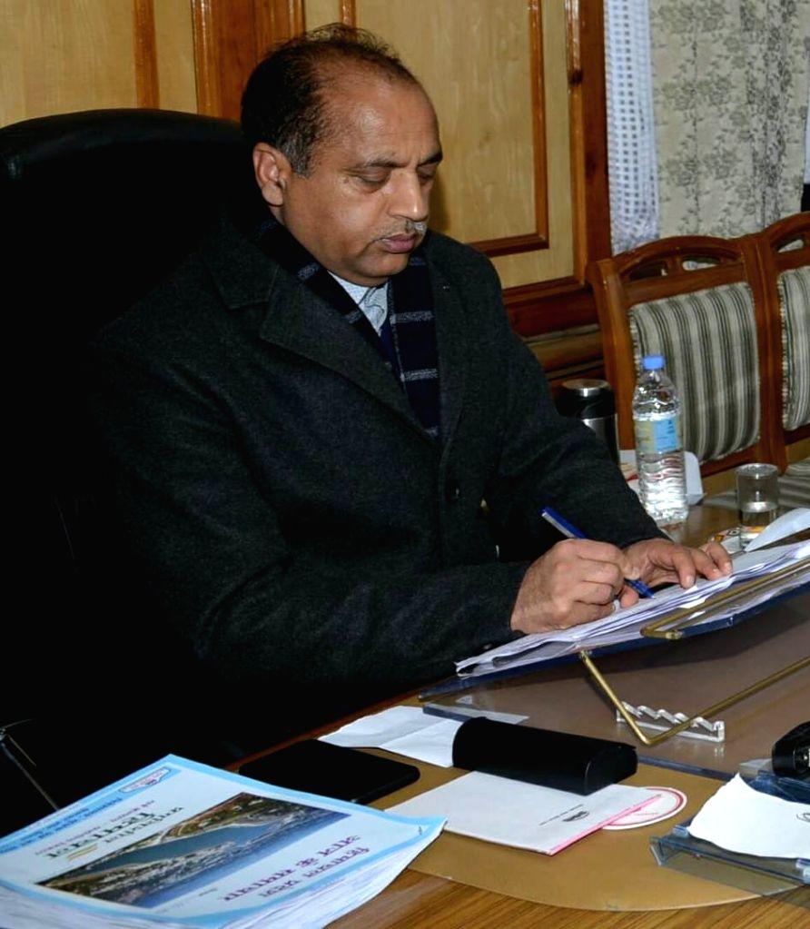 Chief Minister Jai Ram Thakur during a Himachal Pradesh Sanskrit Academy meeting in Shimla on Feb 8, 2219. - Jai Ram Thakur