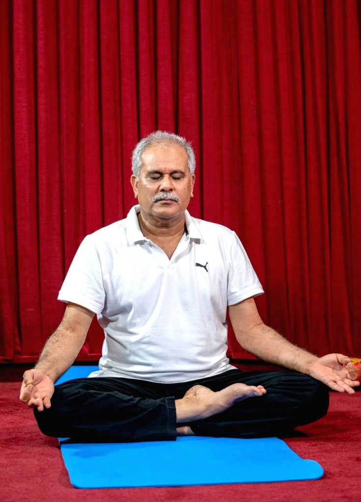 Chief Minister of Chhattisgarh practiced Yoga, on the occasion of International Yoga Day On Monday, June, 2021.