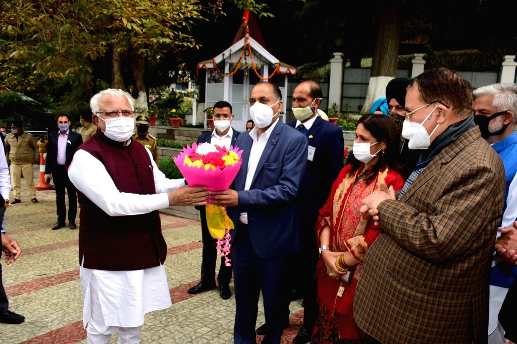 Chief Minister of Haryana Manohar Lal Khattar called on the Chief Minister Jai Ram Thakur at his official residence Oak Over and greeted him on the auspicious occasion of Diwali in Shimla on ... - Jai Ram Thakur