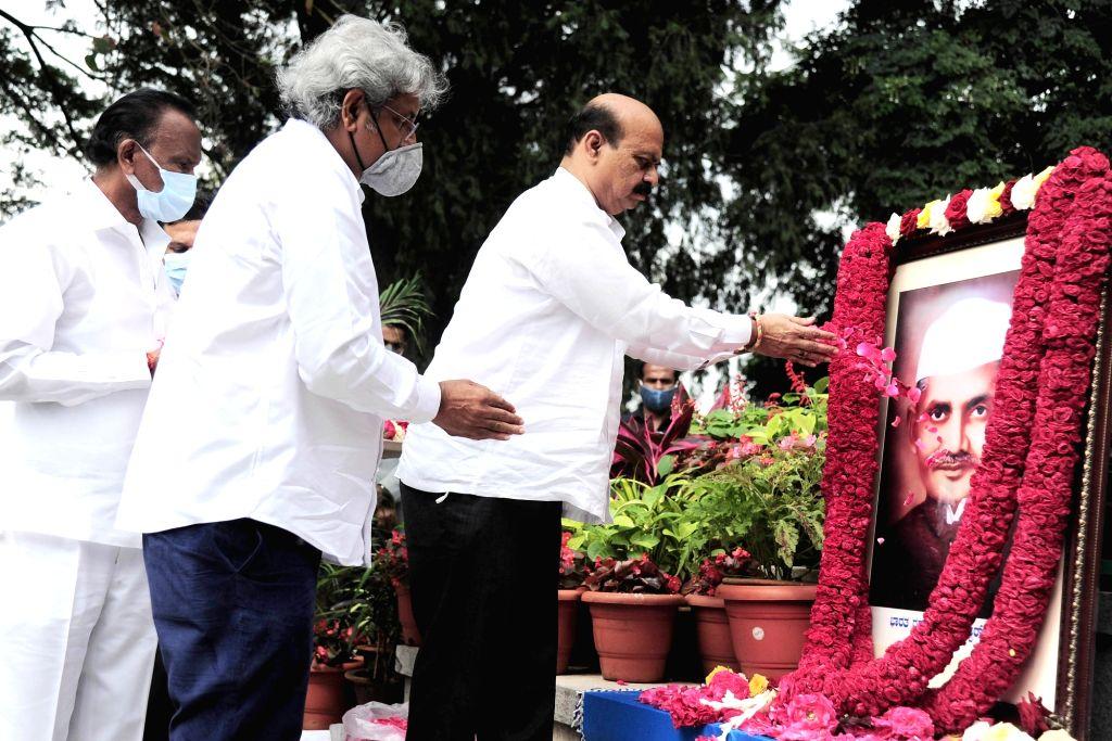 Chief Minister of Karnataka Basavaraj Bommai  paid floral tribute to Lal Bahadur Shastri portrait on his birth anniversary at Vidhana Soudha, in Bengaluru on Saturday 2021 ... - Dhananjay Yadav