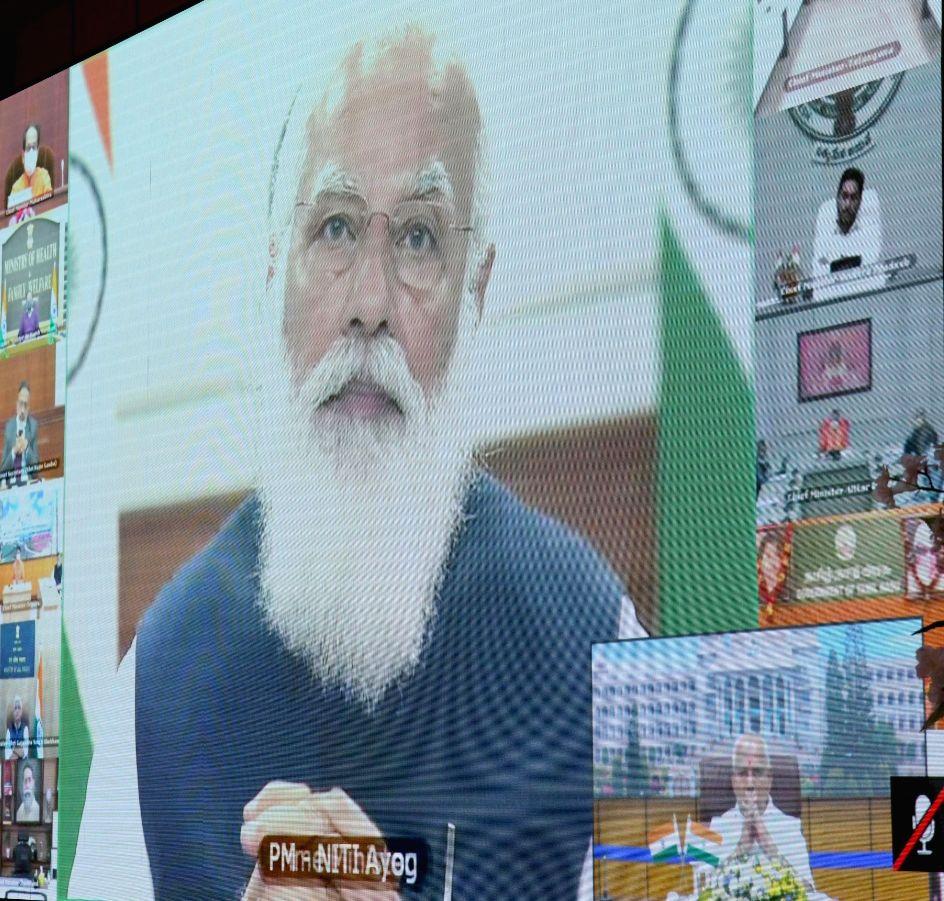 Chief Minister of Karnataka BS Yediyurappa participated in PM Narendra Modi virtual meeting of Niti Aayog Governing Council at Home office Krishna, in Bengaluru on Saturday 20th February 2021. - Narendra Modi