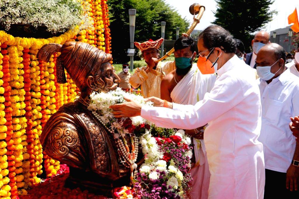Chief Minister Uddhav Thackeray paid tributes to Chhatrapati Shivaji Maharaj on his 391st birth anniversary by garlanding his bust near Mumbai Airport. Present were Minister Anil Parab, MP Arvind ... - Uddhav Thackeray