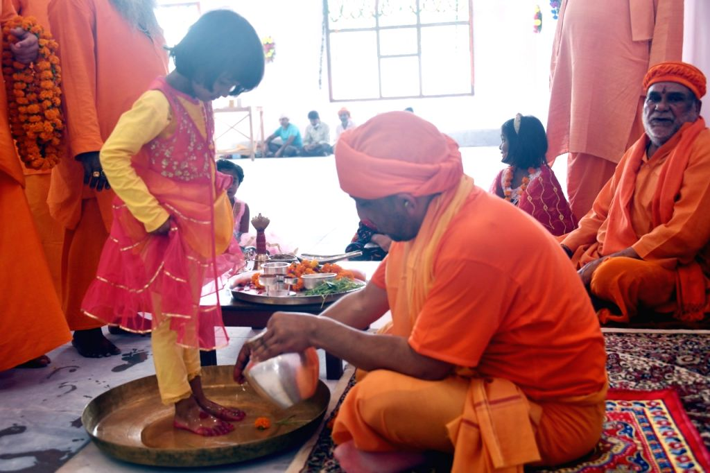 Chief Minister Yogi Adityanath will perform Kanya Pujan in the temple of Gorakhpur on the morning of Mahanavami and also feed the girls with his own hands. - Yogi Adityanath