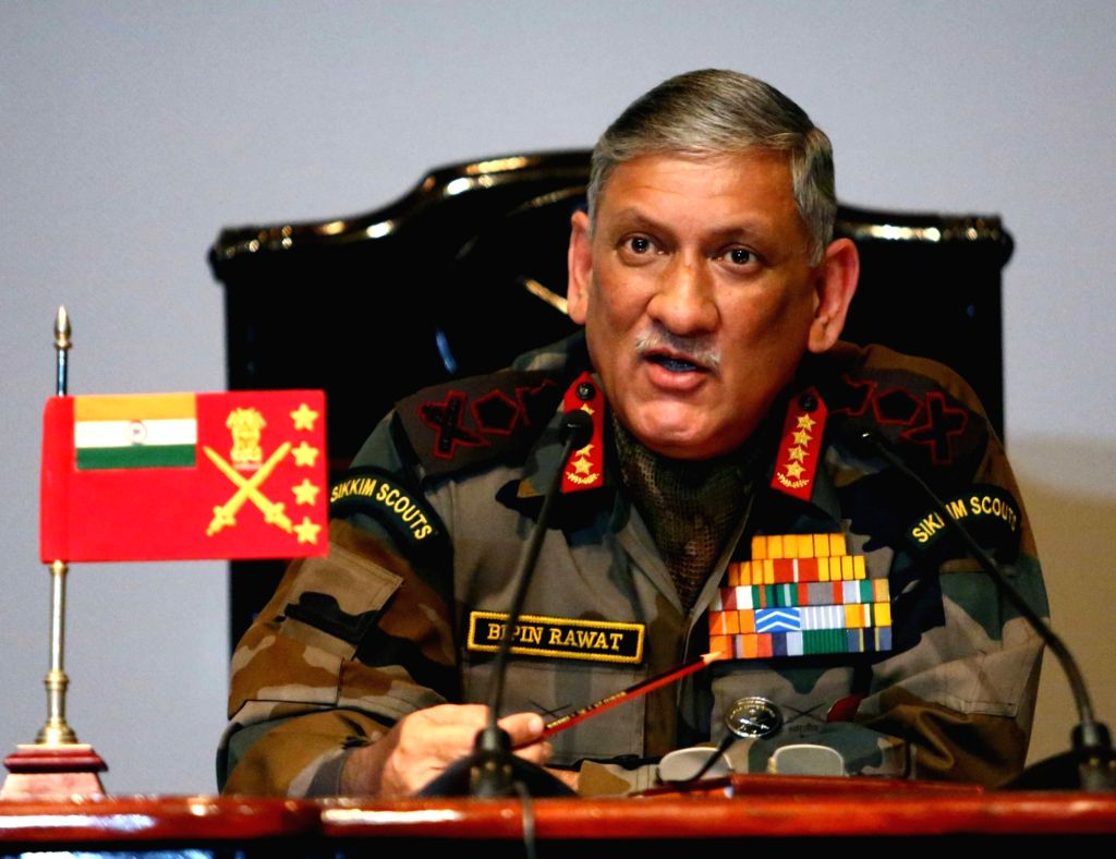 Chief of Army Staff, General Bipin Rawat addresses annual Army Press Conference ahead of Army Day 2017  at Manekshaw Centre in New Delhi, on Jan 13, 2017.