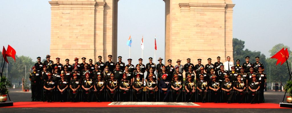 Chief of Army Staff General Dalbir Singh with the officers from infantry on the occasion of Infantry Day in New Delhi on Oct 27, 2016.