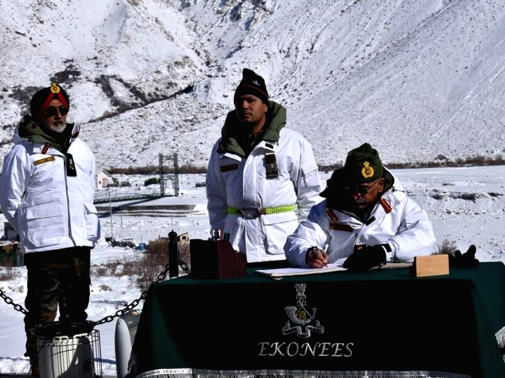 Chief of Army Staff General M.M. Naravane during his maiden visit to the forward posts in Siachen sector, after assuming charge, on Jan 9, 2020. He was accompanied by Lieutenant General YK ... - General Harinder Singh