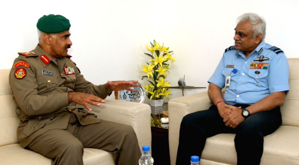 Chief of General Staff, State of Kuwait, Lieutenant General Mohammed Khaled Al-Khadher meets Vice Chief of the Air Staff, Air Marshal S.B. Deo in New Delhi on Sept 19, 2017.