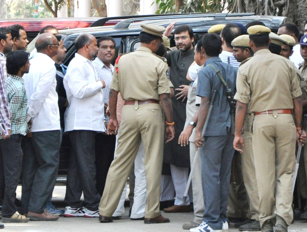 Chief of MIM party Asaduddin Owaisi appearing in Sangareddy court in connection with an old case registered against him in 2005 with MIM Floor Leader Akberuddain Owaisi MLA on Jan. 28.