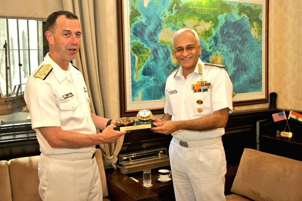 Chief of Naval Operations, US Navy Admiral John Richardson meets Chief of the Naval Staff Admiral Sunil Lanba, in New Delhi on May 13, 2019.