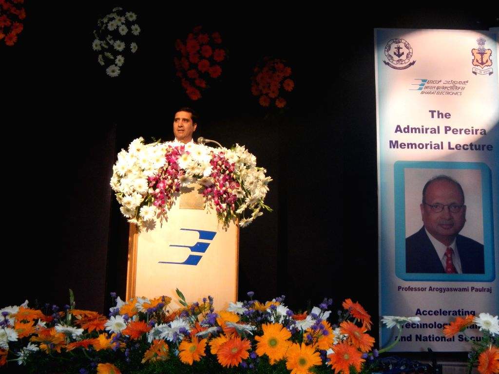 Chief of Naval Staff Admiral R K Dhowan addresses during Admiral Pereira Memorial Lecture organised in Bengaluru on Jan 10, 2015.