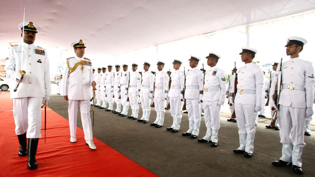 Chief of Naval Staff, Admiral R.K. Dhowan inspects Guard of Honour, in Chennai on September 04, 2014.