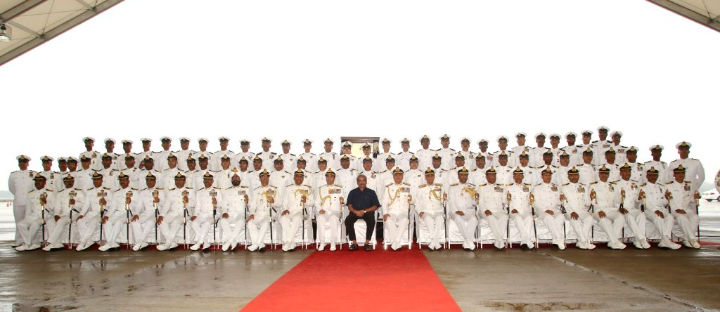 Chief of Naval Staff, Admiral RK Dhowan, Defence Minister Manohar Parrikar and officers pose for a group photo at the Induction Ceremony of P8i Aircraft at INS Rajali near Chennai on Nov. ...