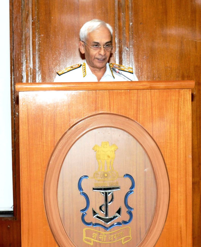Chief of Naval Staff, Admiral Sunil Lanba addresses at the inaugural session of Navy Commanders' Conference 2018, in New Delhi on Oct 31, 2018.