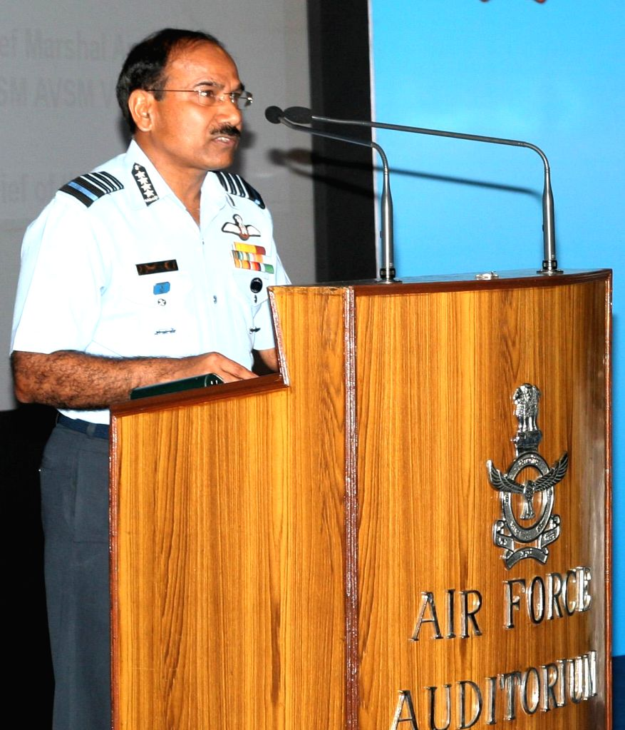 Chief of the Air Staff Air Chief Marshal Arup Raha addresses the Air veterans during a seminar on `Role of IAF in 1965 India-Pakistan war` in New Delhi on Sept 5, 2014.