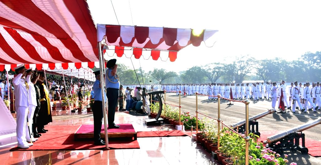 Chief of the Air Staff Air Chief Marshal B.S. Dhanoa takes the salute during the Passing Out Parade of 136th Course at the National Defence Academy at Khadakwasla in Maharashtra's Pune ...