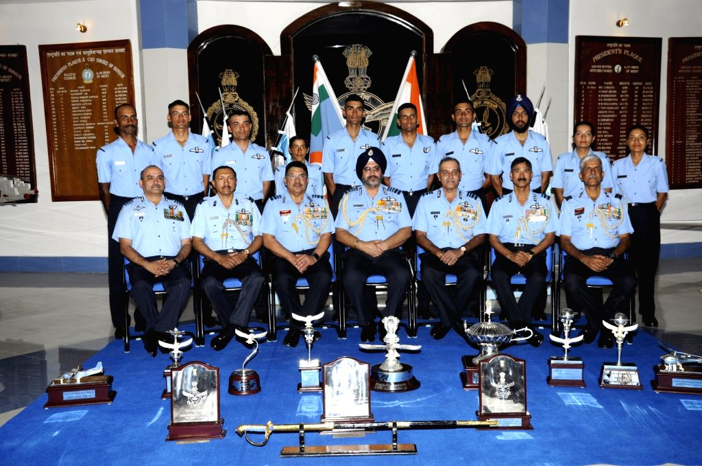 Chief of the Air Staff Air Chief Marshal B.S. Dhanoa with the award winners during the Combined Graduation Parade at Air Force Academy, Dundigal, Hyderabad on 15 Jun 2019.