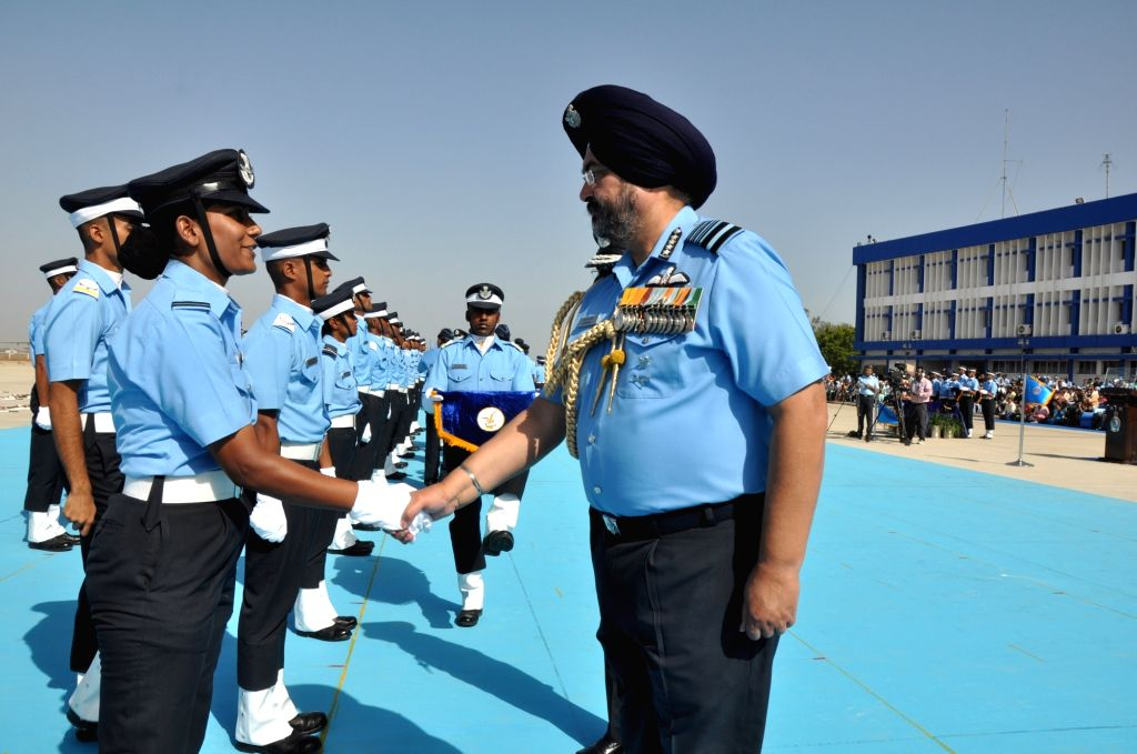 Chief of the Air Staff Air Chief Marshal B.S. Dhanoa congratulates the newly commissioned officers on the occasion of Combined Graduation Parade at Air Force Academy, Dundigal, Hyderabad ...