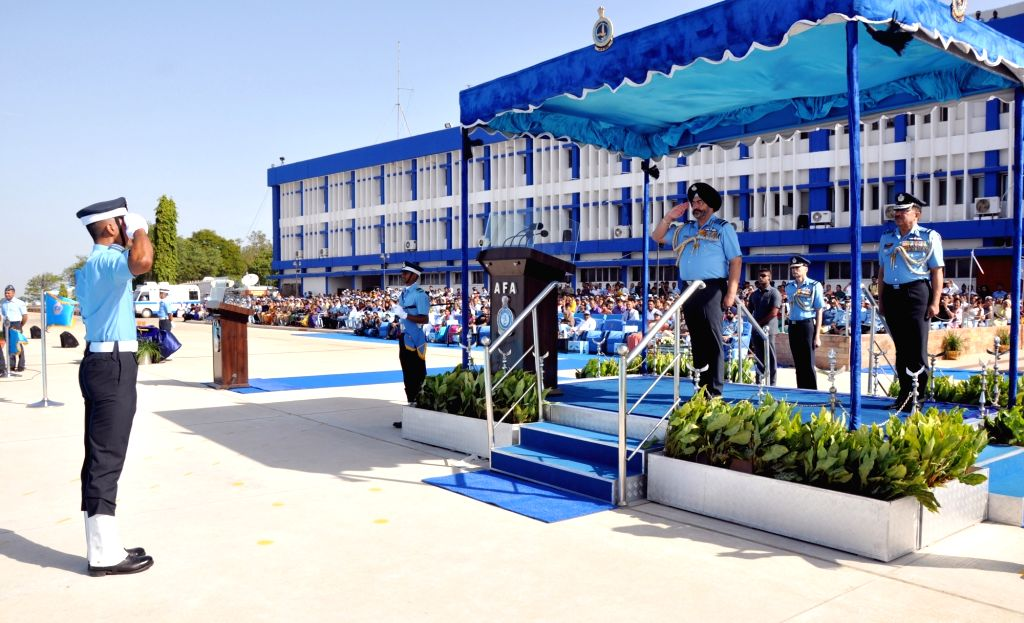 Chief of the Air Staff Air Chief Marshal B.S. Dhanoa takes salute during the Combined Graduation Parade at Air Force Academy, Dundigal, Hyderabad on 15 Jun 2019.