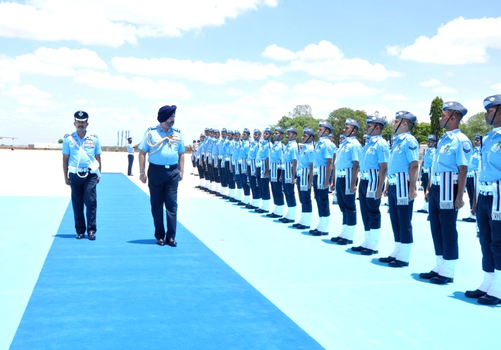 Chief of the Air Staff Air Chief Marshal B.S. Dhanoa inspects the Guard of Honour ahead of the Combined Graduation Parade at Air Force Academy, Dundigal, Hyderabad on 15 Jun 2019.