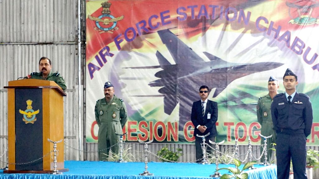 Chief of the Air Staff, Air Chief Marshal R.K.S. Bhadauria addresses the station personnel at Air Force Station, Chabua in Assam on Jan 9, 2020.