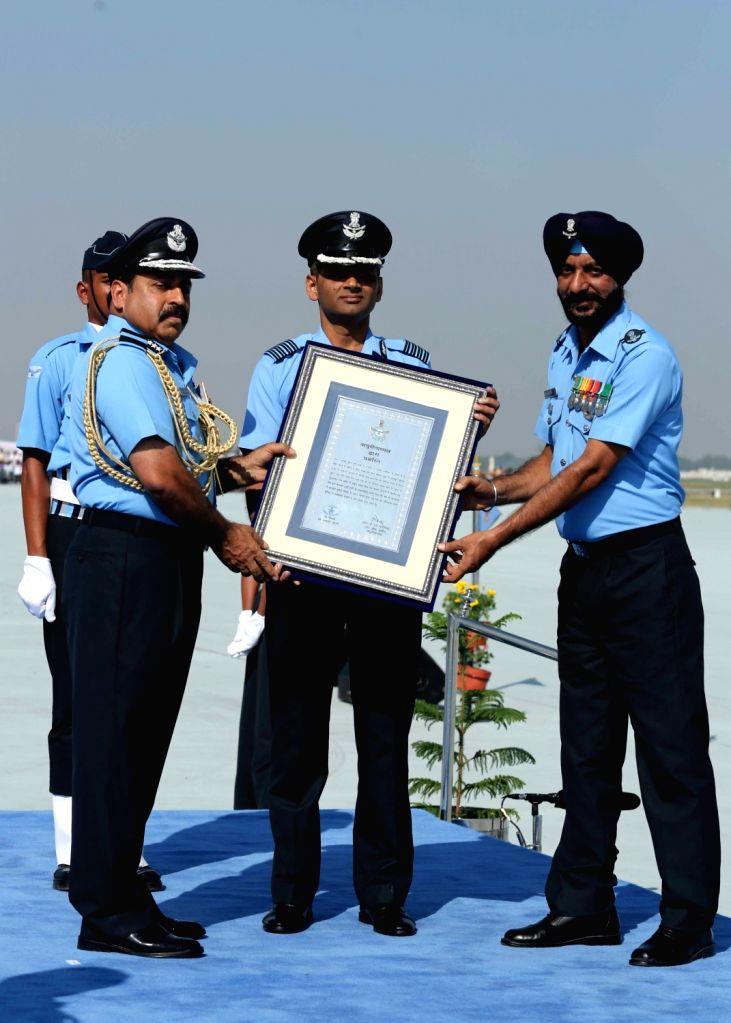 Chief of the Air Staff, Air Chief Marshal Rakesh Kumar Singh Bhadauria during the 87th anniversary celebrations of the Indian Air Force (IAF) at Hindon Air Force Station in Ghaziabad, on ...