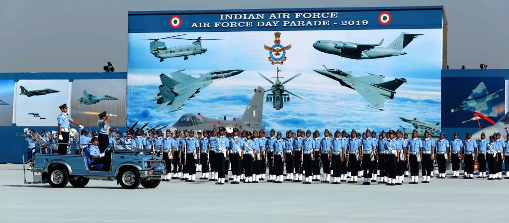 Chief of the Air Staff, Air Chief Marshal Rakesh Kumar Singh Bhadauria inspects the Guard of Honour during the 87th anniversary celebrations of the Indian Air Force (IAF) at Hindon Air ...