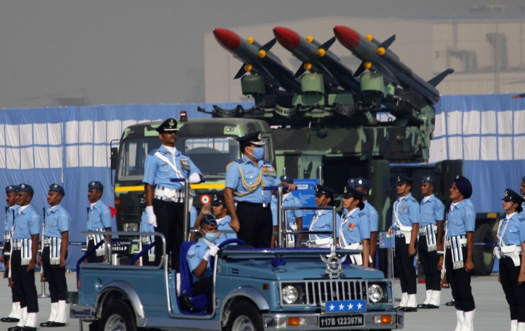 Chief of the Air Staff Marshal R.K. Bhadauria inspects the Guard of Honour during the 88th Air Force Day celebrations at Hindon Air Force Station in Ghaziabad, Uttar Pradesh on Oct 8, 2020.