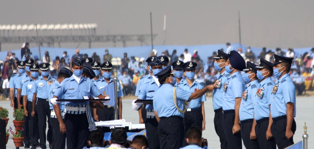 Chief of the Air Staff Marshal R.K. Bhadauria during the 88th Air Force Day celebrations at Hindon Air Force Station in Ghaziabad, Uttar Pradesh on Oct 8, 2020.