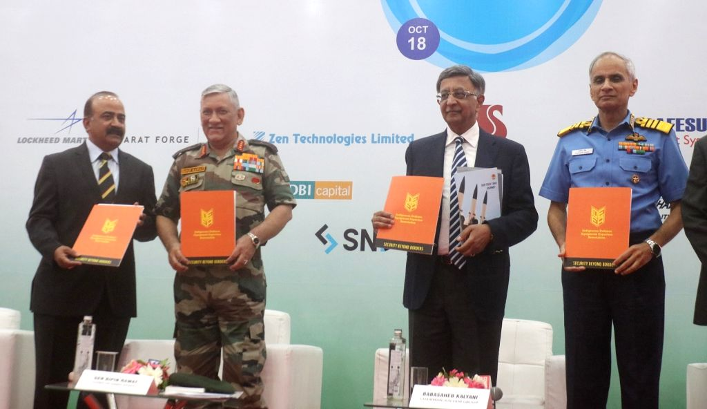 Chief of the Army Staff, General Bipin Rawat, Bharat Forge Chairman and MD Babasaheb Neelkanth Kalyani and Chief of the Naval Staff, Admiral Karambir Singh during 4th Defence Attaches' ... - Karambir Singh