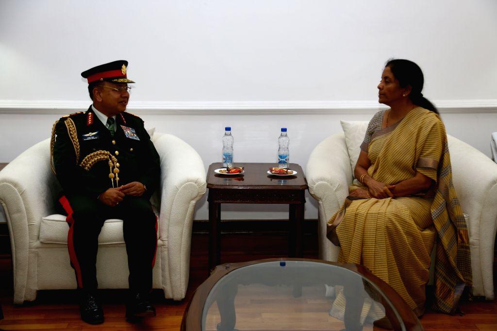 Chief of the Army Staff  Nepal Army, General Rajendra Chhetri calls on Defence Minister Nirmala Sitharaman in New Delhi, on June 7, 2018. - Nirmala Sitharaman
