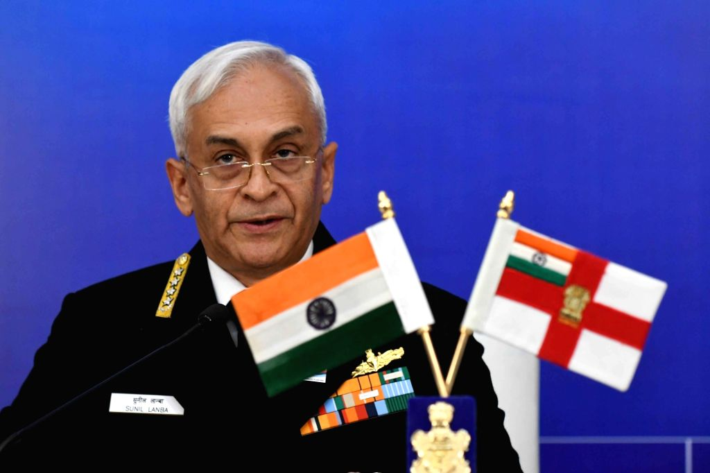 Chief of the Naval Staff Admiral Sunil Lanba addresses a press conference in New Delhi on Dec 3, 2018.