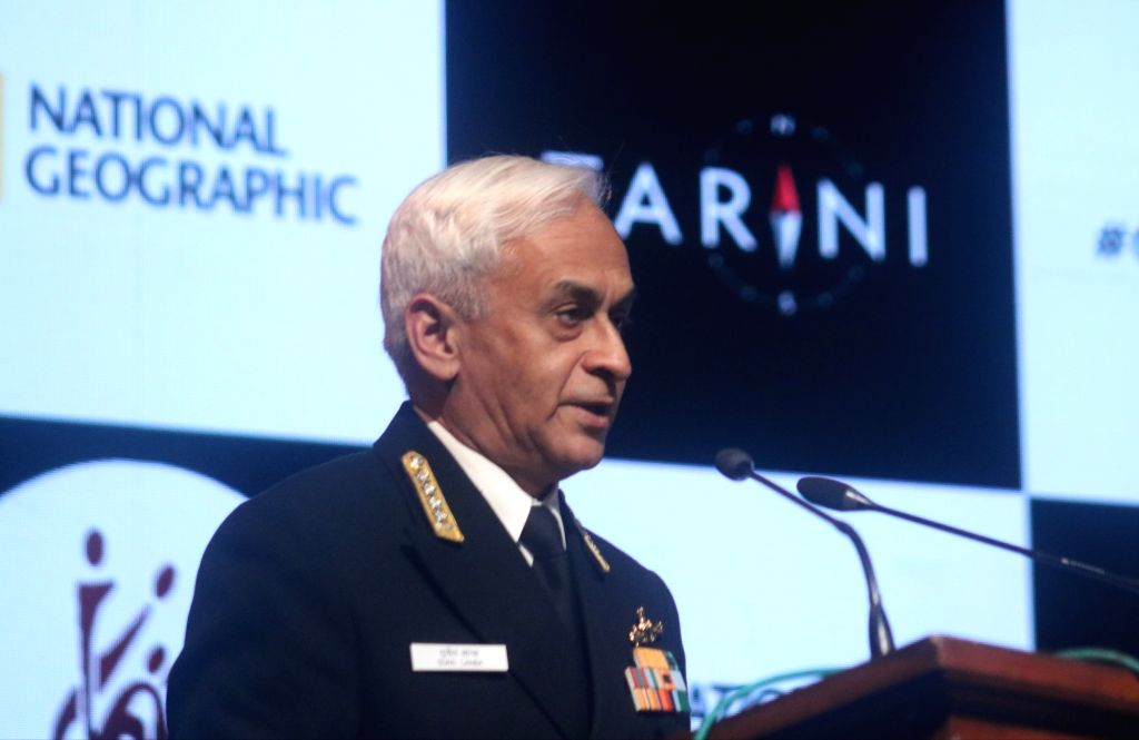 Chief of the Naval Staff, Admiral Sunil Lanba addresses at the International Women's Day programme in New Delhi, on March 6, 2019. International Women's Day is celebrated on 8th March.