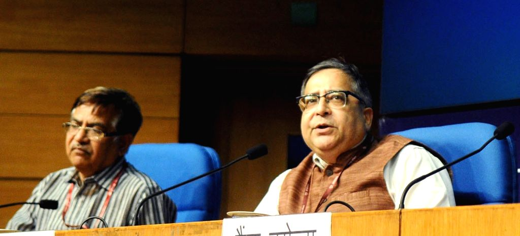 Chief Statistician of India Dr. T.C.A. Anant addresses a press conference after release of Press Note on Provisional Estimates of Annual National Income, 2016-17 and Quarterly Estimates of ...