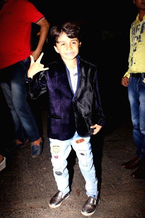 Child actor Aaryan Prajapati during the success party of film Baaghi in Mumbai on May 12, 2016. - Aaryan Prajapati