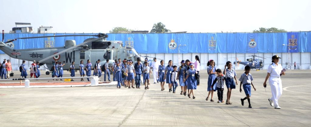 Children aboard INS Shikhra during Navy Week in Mumbai, on Nov 16, 2015.