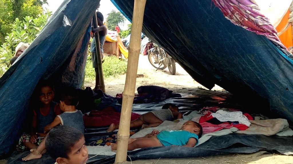 Children at a makeshift camp in Bihar's flood hit Sitamarhi on July 19, 2019.