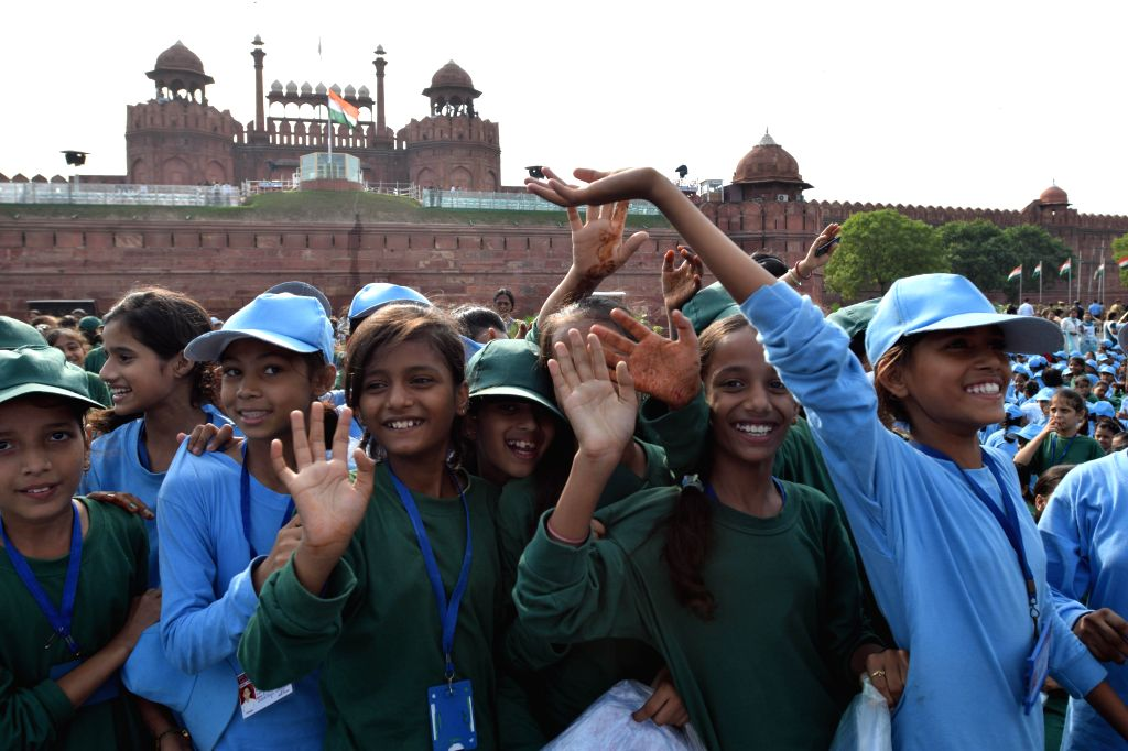 Children at the dress rehearsal for the Independence Day celebrations at Red Fort in New Delhi on Aug. 13, 2014.
