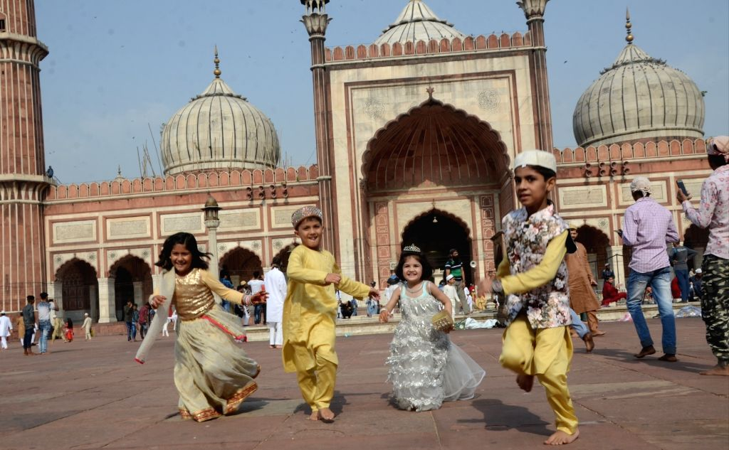 Children celebrate Eid-ul-Fitr at Jama Masjid in New Delhi on June 5, 2019.