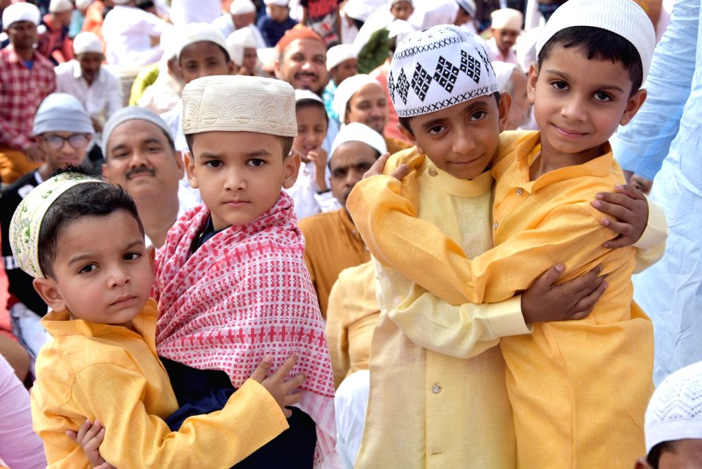 Children celebrate Eid-ul-Fitr in Mathura on June 5, 2019.