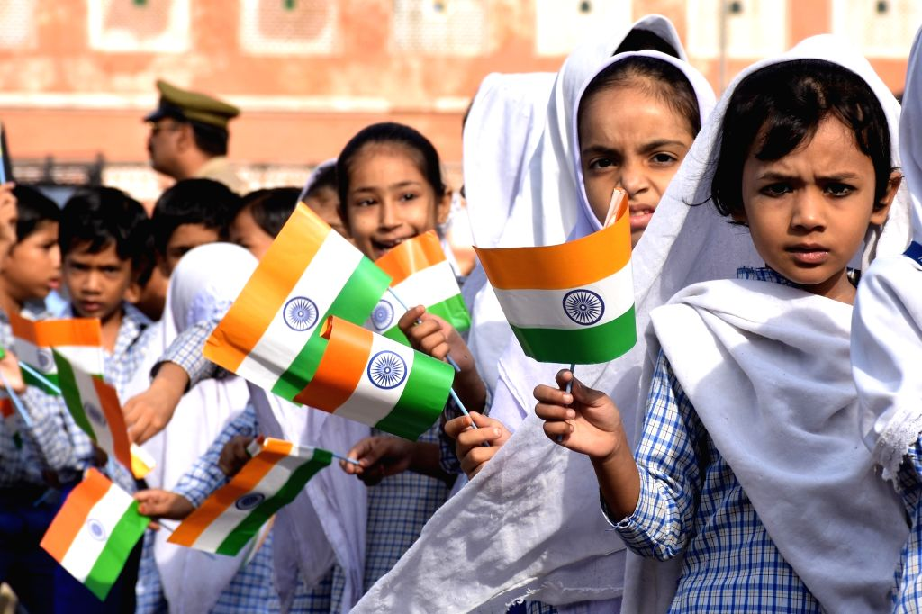 Children celebrate Independence Day in Jaipur, on Aug 15, 2016.