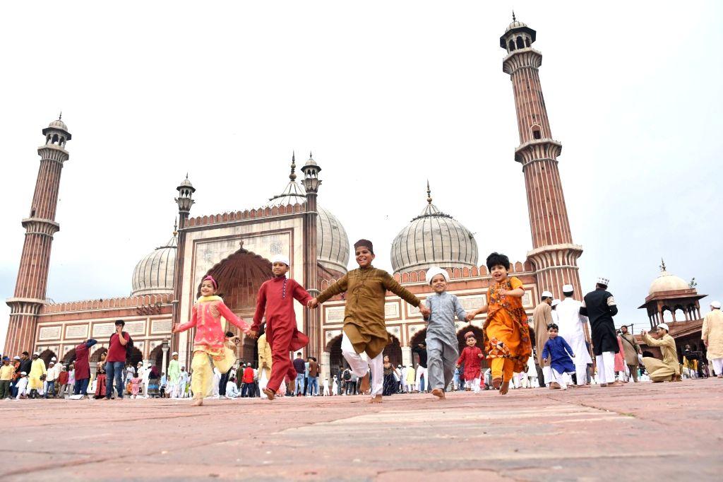 Children celebrate on Eid-ul-Adha at Jama Masjid in New Delhi on Aug 12, 2019.