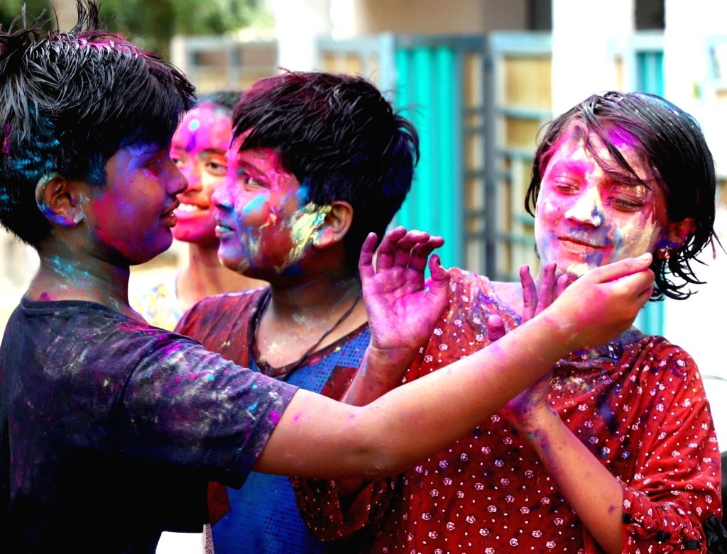 Children celebrate the holi with the colors on the occasion of Holi festival, in Bengaluru on Sunday 28th March 2021.