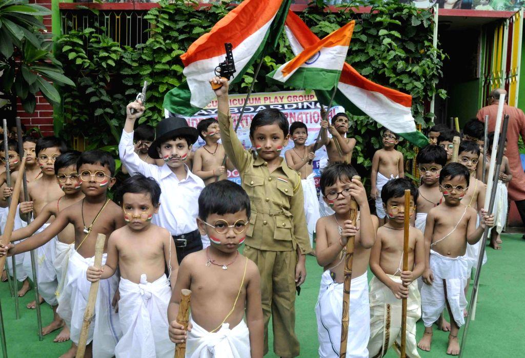 Children during Gandhi Jayanti celebrations at a Patna School on Sept 30, 2016.