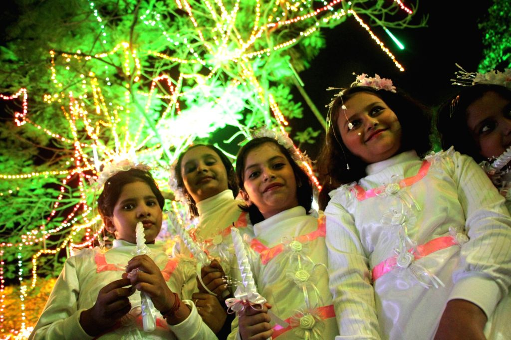 Children during inauguration of a Christmas programme in Kolkata on Dec.20, 2013.